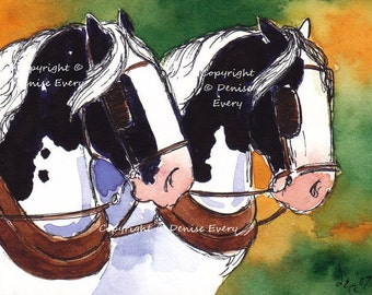 Black Pinto Piebald Spotted International Draft Horse Team Equine Art Original ACEO Painting Watercolor ATC Heavy Harness Draught