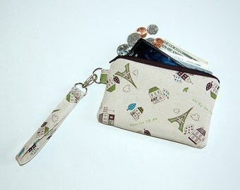 CITY IN PARIS - Wristlet Purse with Removable Wristlet Strap and Interior Pocket