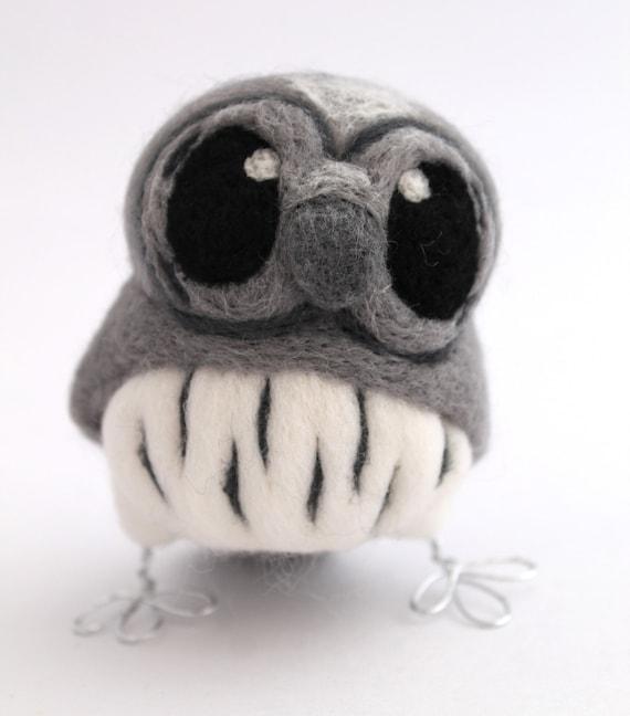 Needle Felted Bird Grey Owl Little Owl in Dusky Greys
