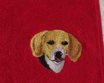 Beagle Dog Embroidered Hand Towel