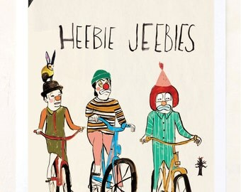 Heebie Jebbies, Bicycle Art, Bike, Clowns, Humor, Poster, Quirky Children's Art, Unique Home Decor, Affordable art, Weird, Fine Art Print