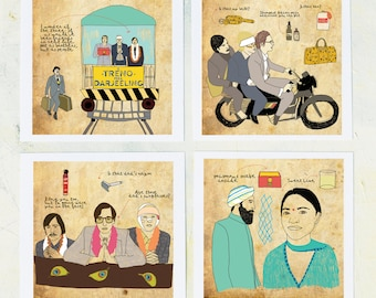 Art, Film Geek, Wes Anderson movies, Movie wall decor, The Darjeeling Limited quotes, Drawings- set of 4 Pints on fine art paper