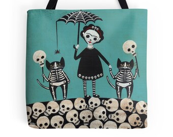 Frida Day of the Dead - Folk Art Tote Bag