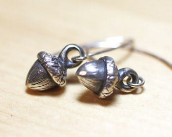 Sterling Silver Miniature Acorn Earrings, Tiny Silver Acorn Earrings, Nature Inspired Sterling Silver Jewelry