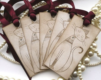 Cat Gift Tags, Cat Lovers Gift, I love cats, Vintage cat tags, cat gift wrap, cat favours, cat favors, cat favor tags, Birthday tags