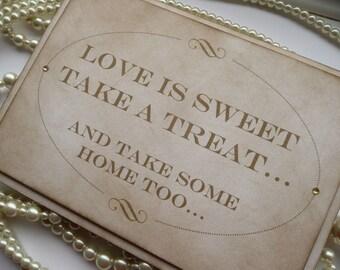 Candy Buffet Sign, Love is Sweet Sign, Wedding Favors, Gold Wedding Sign, Vintage Wedding Ideas, UK Wedding