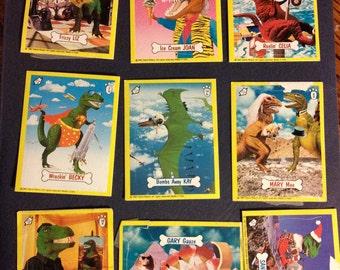 vintage dino card stickers