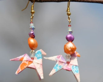 Origami Horse Earrings - Crocus
