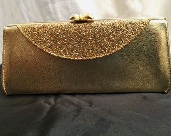 Vintage 1960's Glittery Gold Leatherette Evening Bag