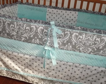 HOT SALE* Custom Gray White Aqua Blue Boutique with Ruffles/Piping and Minky Crib Nursery Bedding Set READY To Ship Now