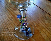 wine charm handmade with vintage blue rhinestone jewelry glass beaded repurposed