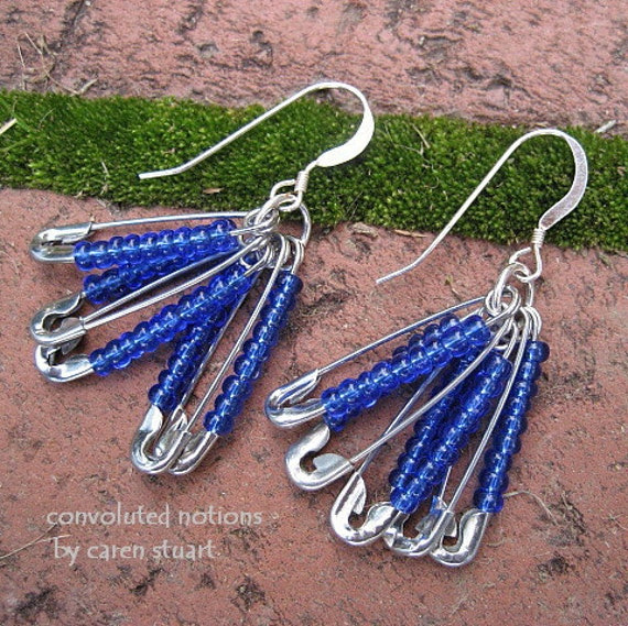 sterling silver earrings handmade with blue glass beaded safety pins