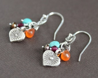 Stamped Hill Tribe Thai Silver Heart Turquoise Carnelian Pearl Garnet Gem Mix Cluster Dangle Earrings Handcrafted