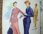 Vintage 50s Wiggle Skirt Fitted Jacket Sewing Pattern McCall's 3438 Size 14 Bust 32