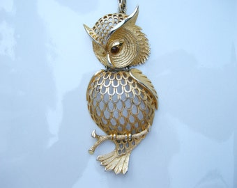 HUGE Owl Pendant Vintage 60s 70s Articulated Topaz Eye