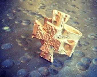 Aztec Cross Ring, bronze, size 7