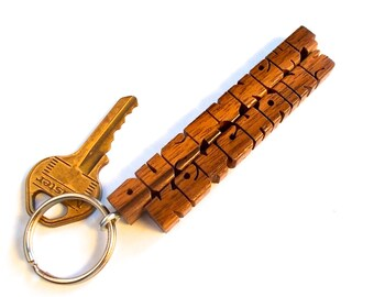 Walnut Wood 2-Liner Keychain, Custom Carved to Order