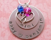 Custom Hand Stamped 2 Disc Stacker Necklace with Heart Charm and Rondelles