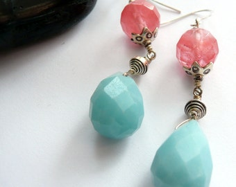 Handcrafted Artisan Cherry Quartz Amazonite Sterling Silver Karen Hill Tribe Fine Silver Hand Wire Wrapped OOAK Boho Gypsy Dangle Earrings