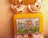 Mermaid glass intaglio and Bakeltie tile bracelet