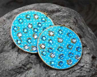 Wood Earrings, Decoupage Earrings, Sparkle Blue Bejeweled Polka Dot Wood Earrings