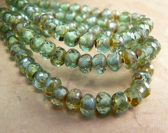 Aqua Green Czech Glass Beads Rondell Picasso Spacer 5x3mm (30)