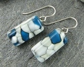 Blue, White and Ivory Fused Glass Earrings in Organic Design.  Glass Jewelry.  Modern Jewelry.  Fused Glass Jewelry.  Handmade in Texas.