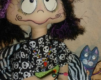 Prim Goth Grungy Gretta Rottenchild Doll and her cat Max