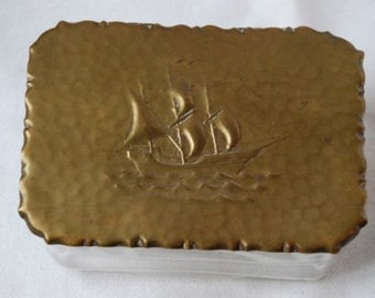 Vintage Art Deco Brass and Glass Sailing Ship Trinket or Jewelry Box 1930's