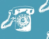 SALE By Half Yard Michele D'Amore Vintage Scrapbook CALL ME Turquoise 3714-84 Fabric Benartex Paris Telephones