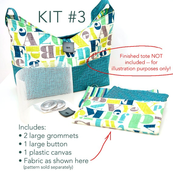 Kit #3 for the Sun & Surf Tote with Fabric, Large Grommets, Button and Plastic Canvas (pattern sold separately)
