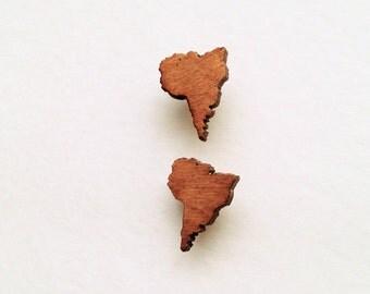 Wood Stud Earrrings South America Shaped Post Earrings Oak
