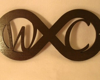 Personalized Wooden Cut Out Initials Infinity Sign