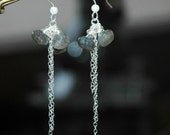 Onion Cut Laboradite / Moonstone Gemstone Earrings with Sterling Silver Chain and Ear Wires