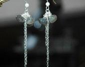 Gray Silver Earrings / Long Silver Chain Earrings / Onion Cut Laboradite Earrings / Long Moonstone Gemstone Sterling Silver Chain Earrings