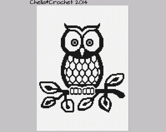 INSTANT DOWNLOAD Black and White Baby Owl on Branch Crochet Knit Cross Stitch Afghan Pattern Graph
