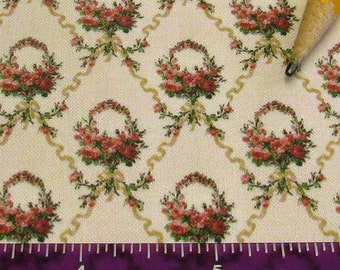 Dollhouse Miniature Victorian UPHOLSTERY FABRIC Ribbon Rose Bouquet 1/12th
