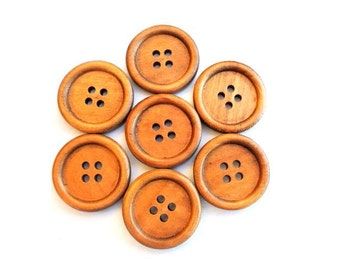 6 Wood  buttons retro vintage style new buttons 25mm