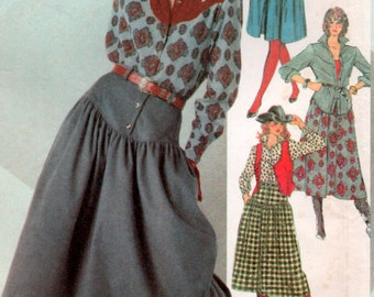 Western Rockabilly Cowgirl Gear Vintage sewing pattern Yoked shirt, skirt, vest, 32 inch bust Simplicity 7601