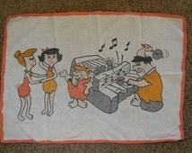 vintage 70s Fred Flintstone linen towel