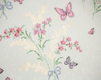 1950's Vintage Wallpaper - Floral Wallpaper with Pink and Purple Butterflies and Spring Flowers