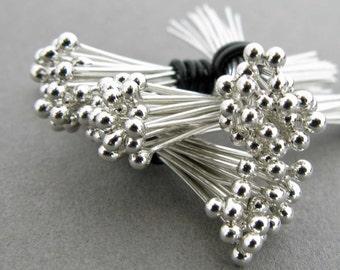 "100 - 24 Gauge 1.25 Inch Argentium Sterling Silver Headpins, Handmade 1 1/4"" Head Pin, Ball End Headpins, Made in the USA, 100 Headpins"