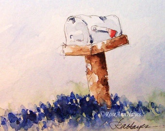 Bluebonnets and Mailbox Print of Watercolor Painting ACEO