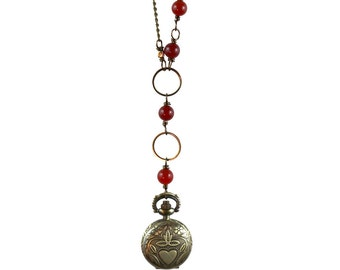 Knave Necklace - (Red) Carnelian and Small Antique Brass Pocketwatch