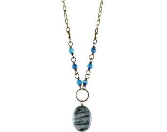 Poppy Necklace (Blue) - Blue Agate, Mystic Felspar