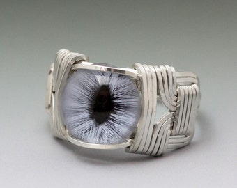 Blue Glass Cat Eye Eyeball Sterling Silver Wire Wrapped Ring - Made to Order and Ships Fast!