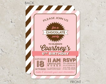 Chocolate Party Birthday Invitations - Pink and Brown - Candy party
