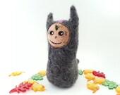 Tarah, Needle Felted Monster Sculpture, Felted Wool Art