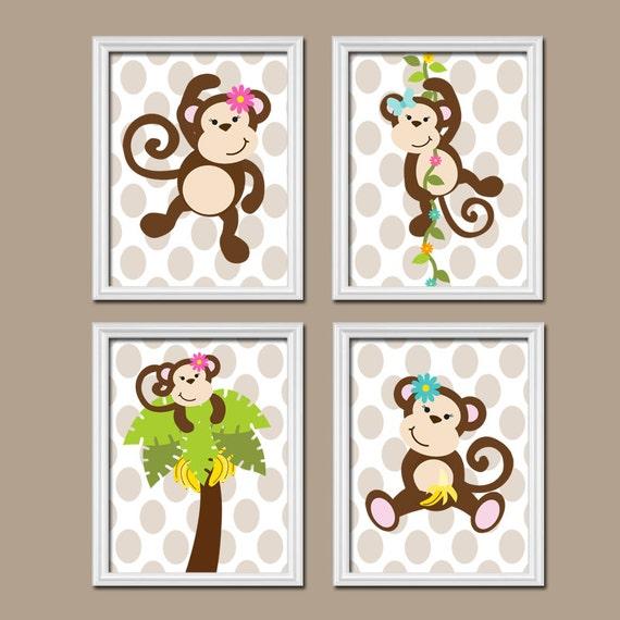 Girl Monkey Nursery Wall Decor : Girl monkey wall art nursery theme baby by