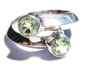 Peridot Gemstone Rings 14k White Gold Green Gem Stone Engagement Ring